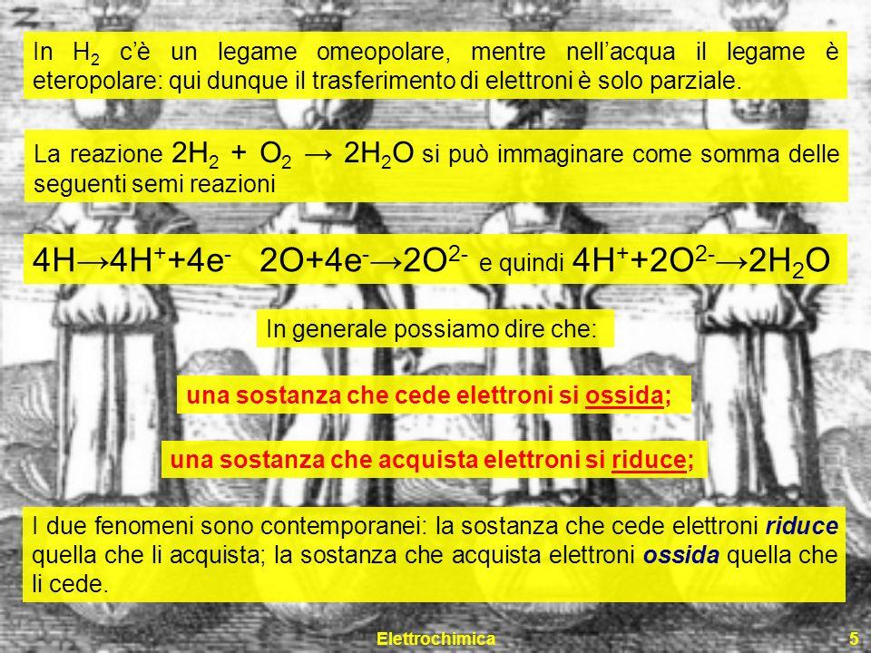 Elettrochimica5 In H 2 cè un legame omeopolare, mentre nellacqua il legame è eteropolare: qui dunque il trasferimento di elettroni è solo parziale. La