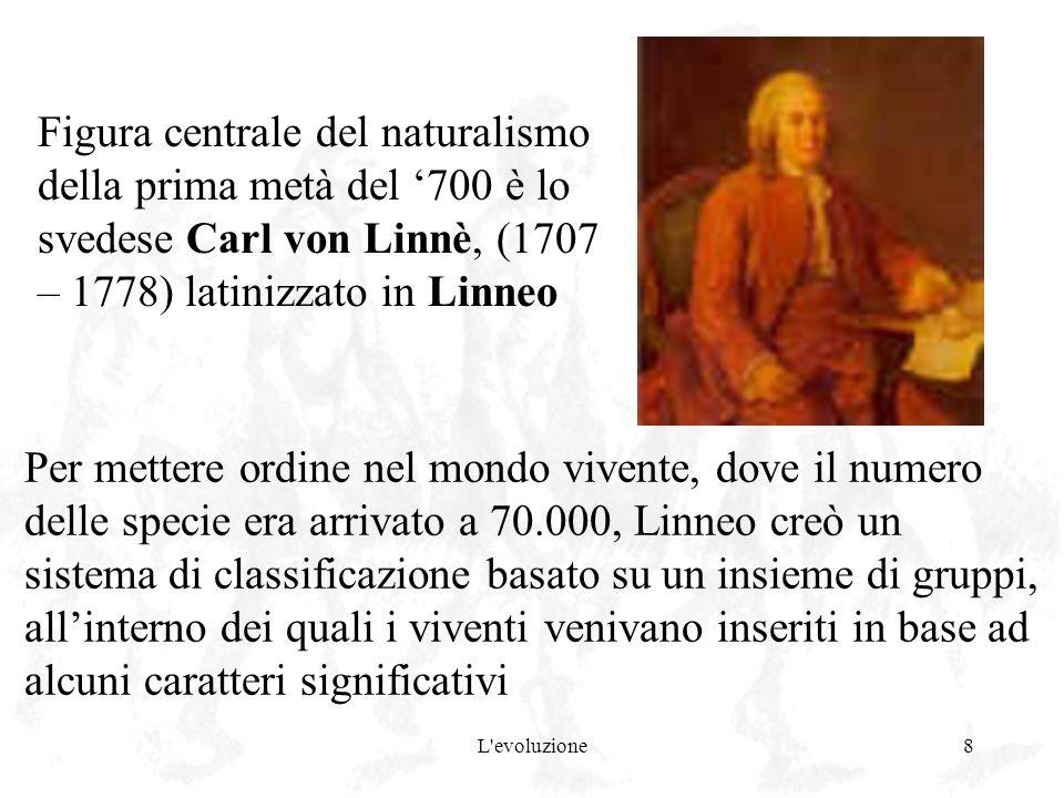 L'evoluzione8 Figura centrale del naturalismo della prima metà del 700 è lo svedese Carl von Linnè, (1707 – 1778) latinizzato in Linneo Per mettere or