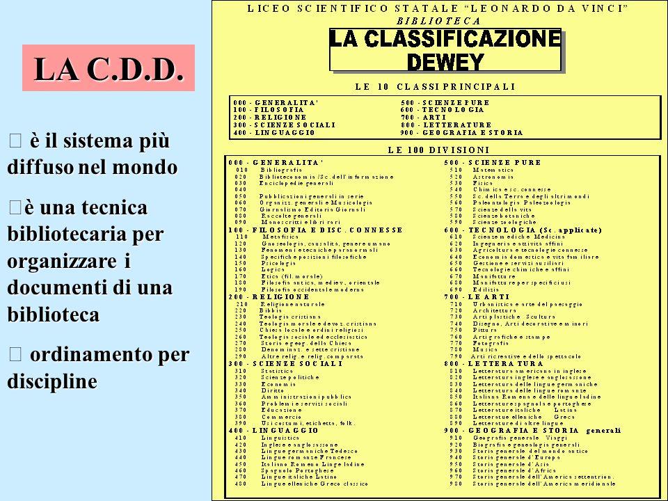 LA C.D.D. è il sistema più diffuso nel mondo è una tecnica bibliotecaria per organizzare i documenti di una biblioteca ordinamento per discipline