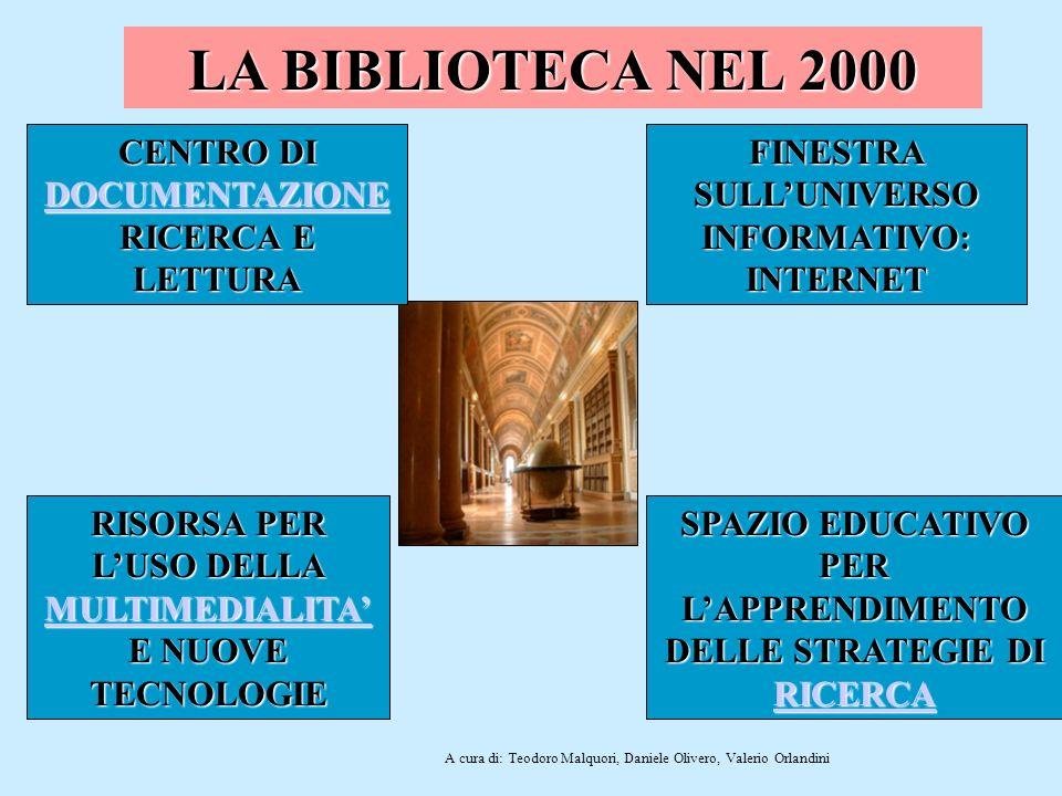 LA BIBLIOTECA NEL 2000 CENTRO DI DOCUMENTAZIONE RICERCA E LETTURA CENTRO DI DOCUMENTAZIONE RICERCA E LETTURA FINESTRA SULLUNIVERSO INFORMATIVO: INTERN