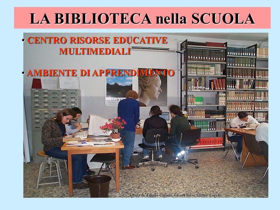 LA BIBLIOTECA nella SCUOLA CENTRO RISORSE EDUCATIVE MULTIMEDIALI CENTRO RISORSE EDUCATIVE MULTIMEDIALI AMBIENTE DI APPRENDIMENTO AMBIENTE DI APPRENDIM