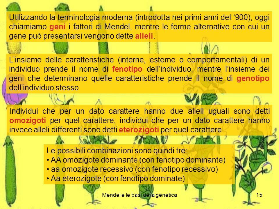 Mendel e le basi della genetica15 Utilizzando la terminologia moderna (introdotta nei primi anni del 900), oggi chiamiamo geni i fattori di Mendel, mentre le forme alternative con cui un gene può presentarsi vengono dette alleli.