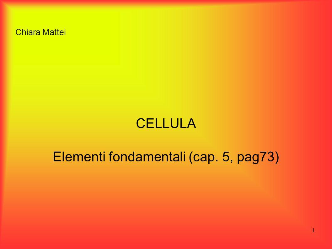 1 Chiara Mattei CELLULA Elementi fondamentali (cap. 5, pag73)