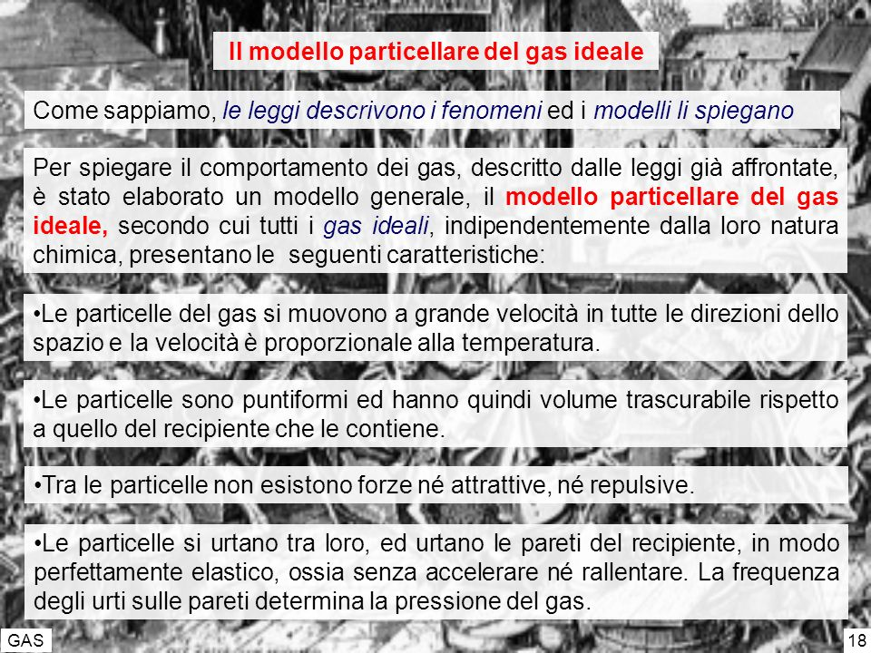 GAS 18 Come sappiamo, le leggi descrivono i fenomeni ed i modelli li spiegano Il modello particellare del gas ideale Per spiegare il comportamento dei gas, descritto dalle leggi già affrontate, è stato elaborato un modello generale, il modello particellare del gas ideale, secondo cui tutti i gas ideali, indipendentemente dalla loro natura chimica, presentano le seguenti caratteristiche: Le particelle del gas si muovono a grande velocità in tutte le direzioni dello spazio e la velocità è proporzionale alla temperatura.