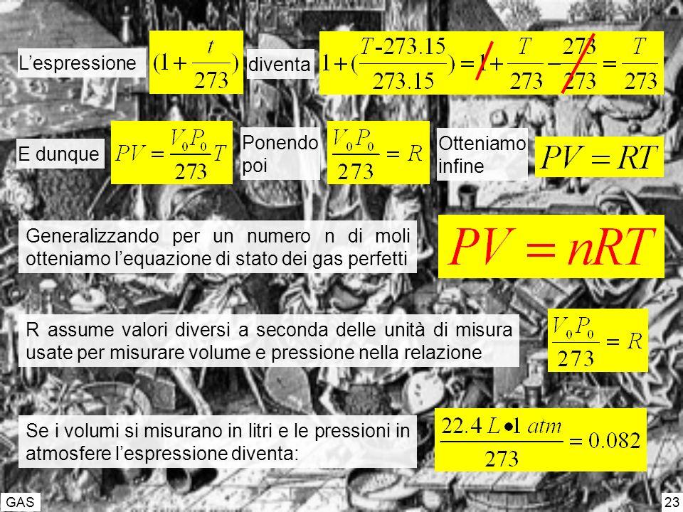 GAS 23 Generalizzando per un numero n di moli otteniamo lequazione di stato dei gas perfetti R assume valori diversi a seconda delle unità di misura u