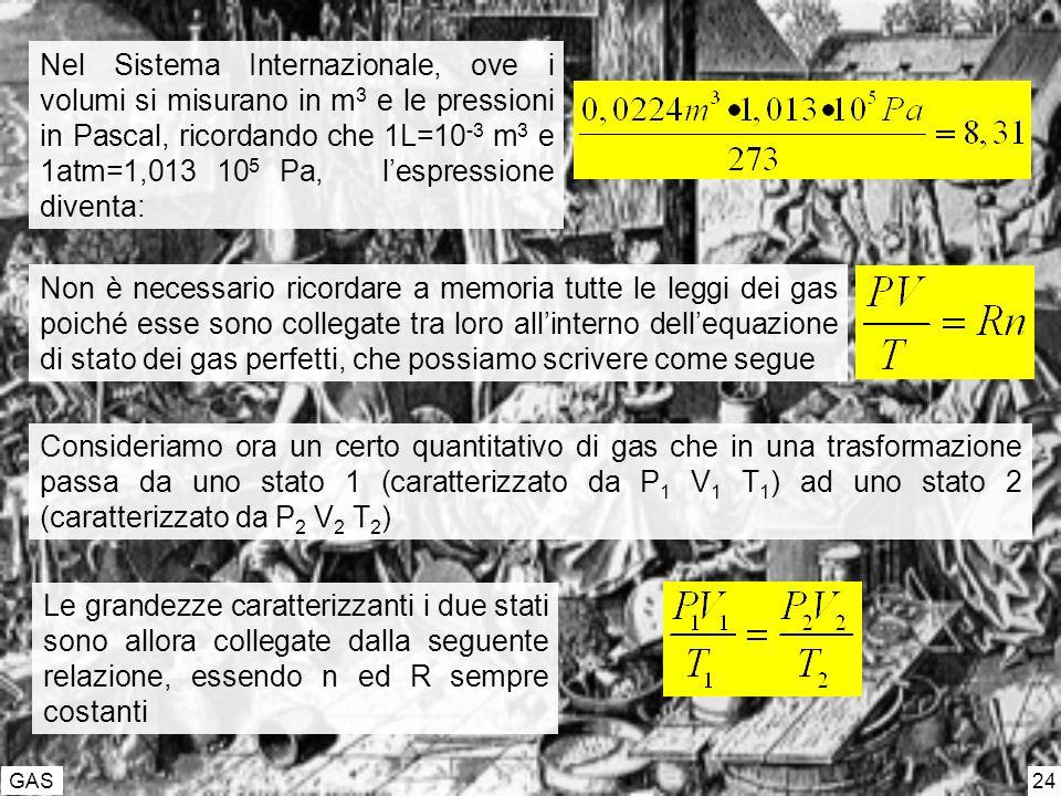 GAS 24 Nel Sistema Internazionale, ove i volumi si misurano in m 3 e le pressioni in Pascal, ricordando che 1L=10 -3 m 3 e 1atm=1,013 10 5 Pa, lespressione diventa: Non è necessario ricordare a memoria tutte le leggi dei gas poiché esse sono collegate tra loro allinterno dellequazione di stato dei gas perfetti, che possiamo scrivere come segue Consideriamo ora un certo quantitativo di gas che in una trasformazione passa da uno stato 1 (caratterizzato da P 1 V 1 T 1 ) ad uno stato 2 (caratterizzato da P 2 V 2 T 2 ) Le grandezze caratterizzanti i due stati sono allora collegate dalla seguente relazione, essendo n ed R sempre costanti