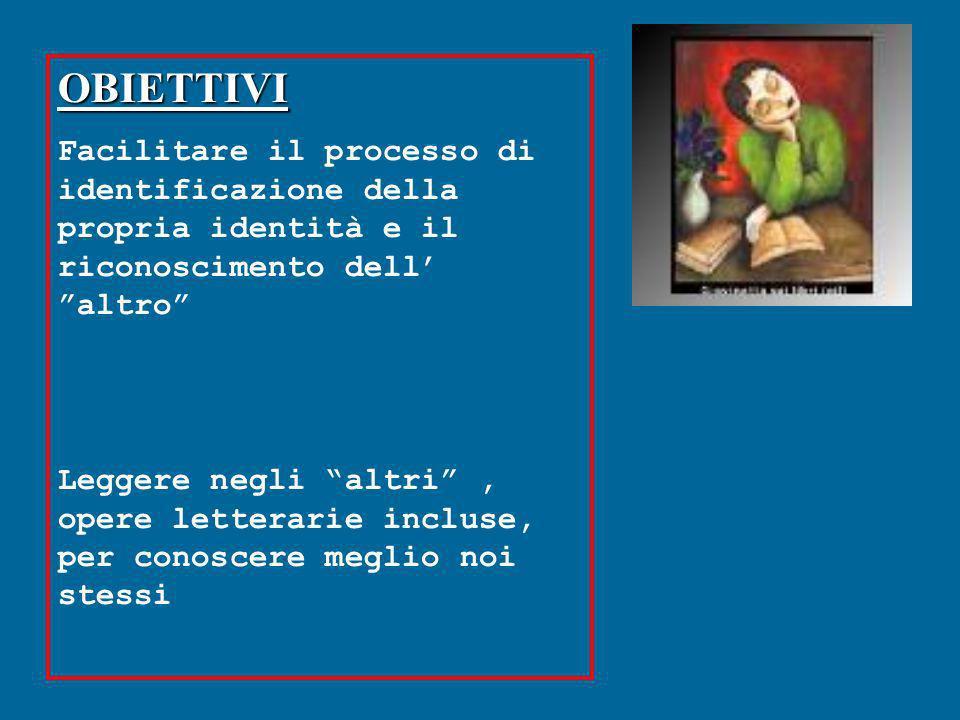 OBIETTIVI Facilitare il processo di identificazione della propria identità e il riconoscimento dell altro Leggere negli altri, opere letterarie inclus