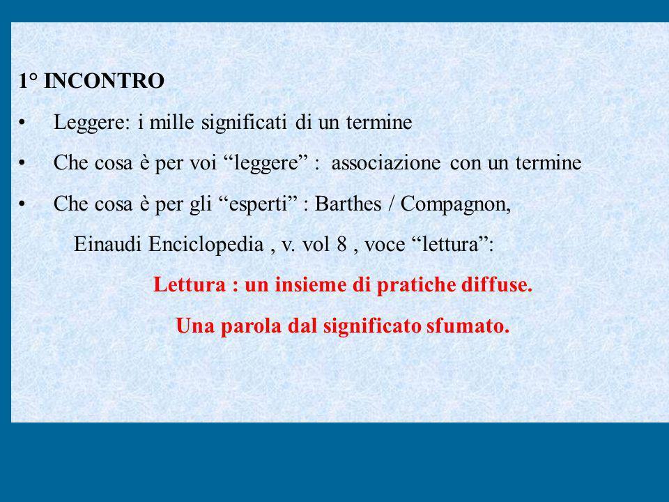 1° INCONTRO Leggere: i mille significati di un termine Che cosa è per voi leggere : associazione con un termine Che cosa è per gli esperti : Barthes /