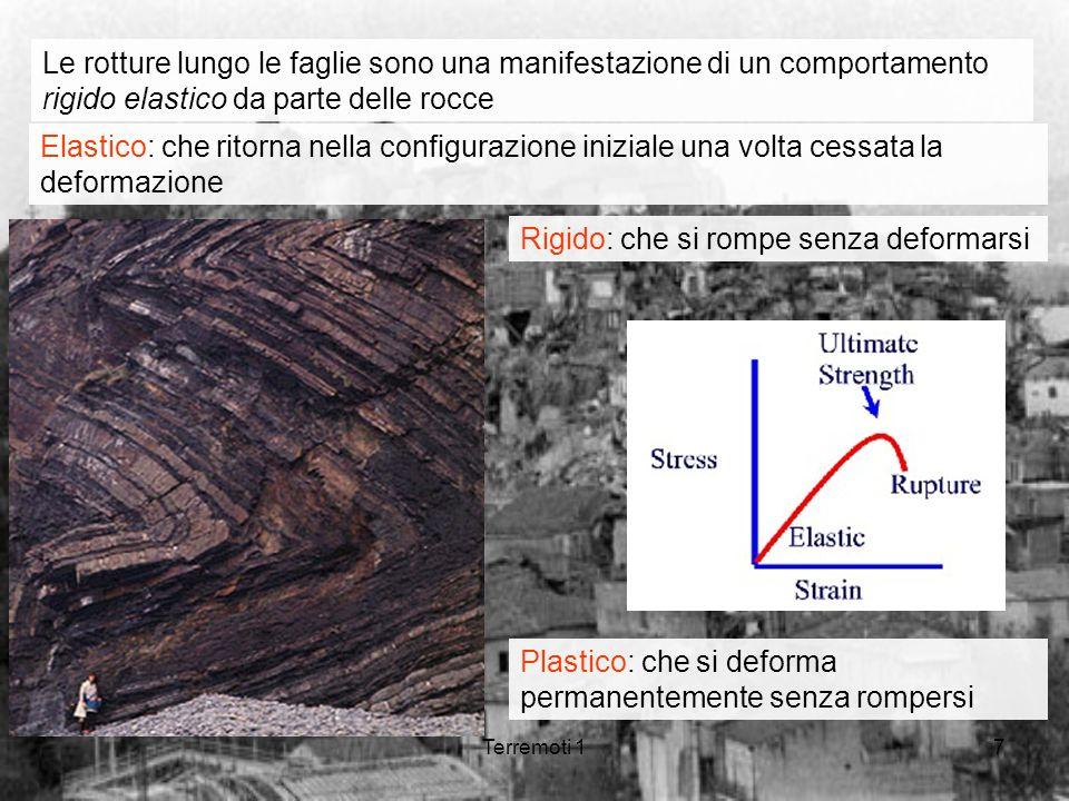 Terremoti 17 Le rotture lungo le faglie sono una manifestazione di un comportamento rigido elastico da parte delle rocce Elastico: che ritorna nella c