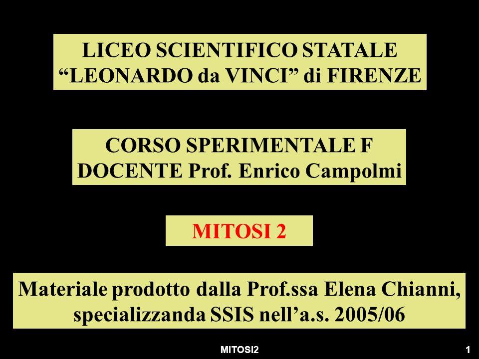 MITOSI21 LICEO SCIENTIFICO STATALE LEONARDO da VINCI di FIRENZE CORSO SPERIMENTALE F DOCENTE Prof. Enrico Campolmi MITOSI 2 Materiale prodotto dalla P
