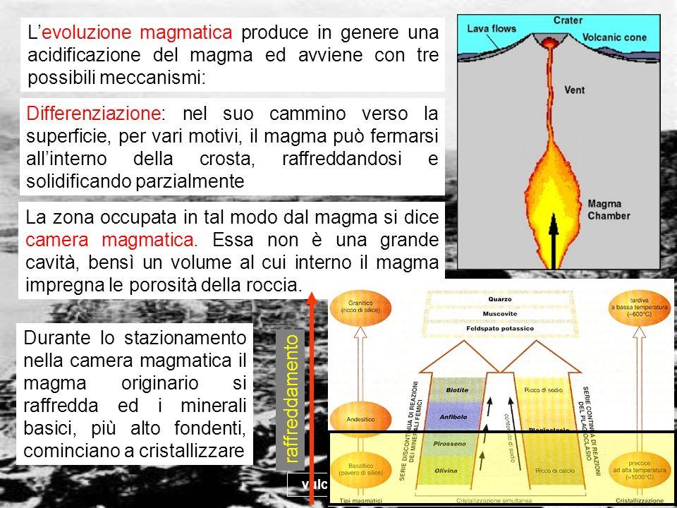 vulcanismo 11 Levoluzione magmatica produce in genere una acidificazione del magma ed avviene con tre possibili meccanismi: Differenziazione: nel suo