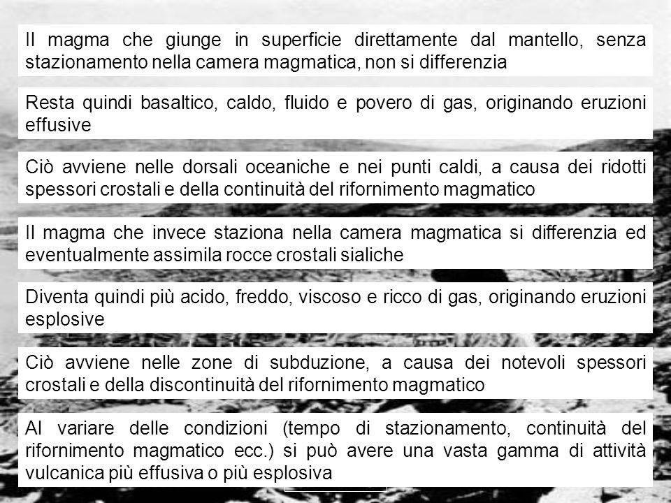 vulcanismo 17 Il magma che giunge in superficie direttamente dal mantello, senza stazionamento nella camera magmatica, non si differenzia Resta quindi