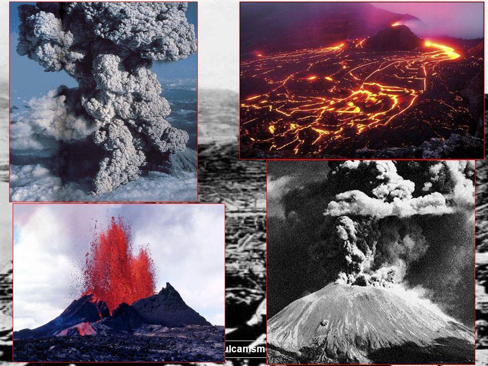 3 La maggioranza dei vulcani si distribuisce lungo fasce strette ed allungate, parzialmente corrispondenti alle aree di localizzazione dei terremoti Dorsali oceaniche Zone di subduzione Si hanno poi alcuni vulcani isolati associati a punti caldi Attività vulcanica: modo in cui i magmi fuoriescono dal vulcano (ad es.