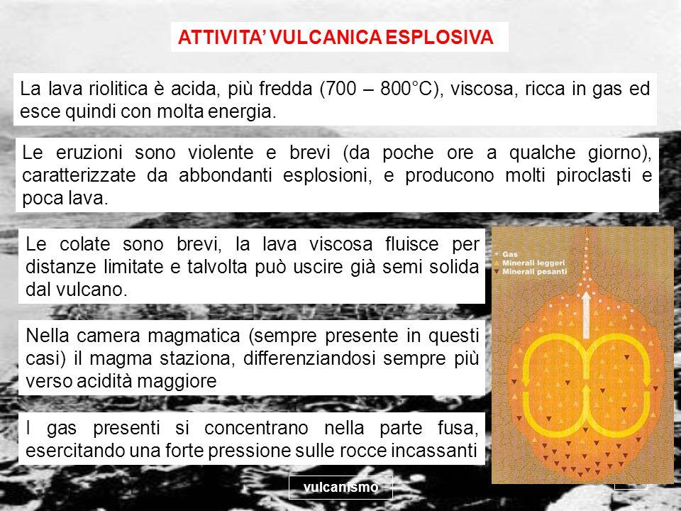 vulcanismo 20 Le colate sono brevi, la lava viscosa fluisce per distanze limitate e talvolta può uscire già semi solida dal vulcano. ATTIVITA VULCANIC