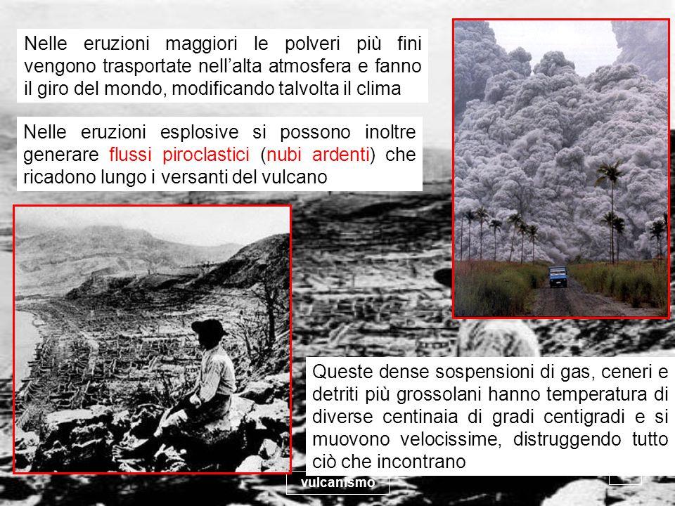 vulcanismo 23 Nelle eruzioni maggiori le polveri più fini vengono trasportate nellalta atmosfera e fanno il giro del mondo, modificando talvolta il cl