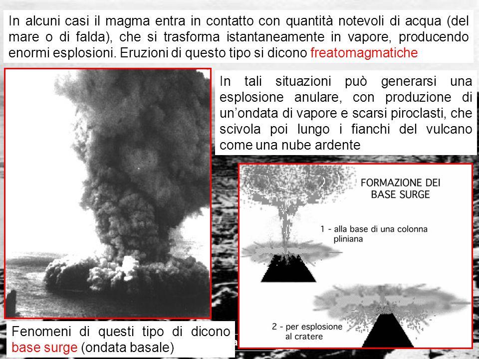 vulcanismo 25 In tali situazioni può generarsi una esplosione anulare, con produzione di unondata di vapore e scarsi piroclasti, che scivola poi lungo