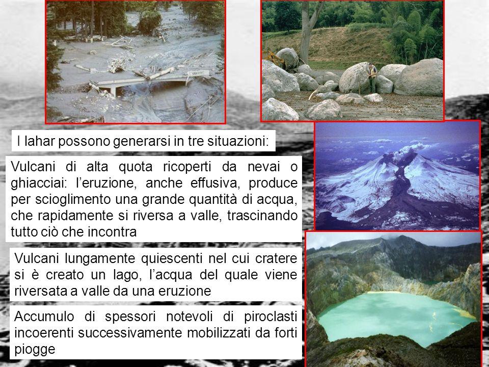 vulcanismo 28 I lahar possono generarsi in tre situazioni: Vulcani di alta quota ricoperti da nevai o ghiacciai: leruzione, anche effusiva, produce pe