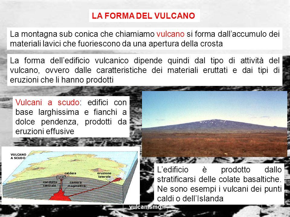 vulcanismo 29 LA FORMA DEL VULCANO La montagna sub conica che chiamiamo vulcano si forma dallaccumulo dei materiali lavici che fuoriescono da una aper