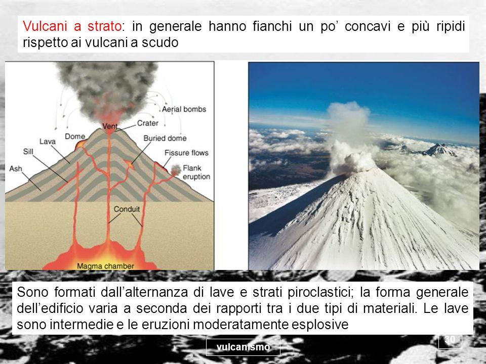 vulcanismo 30 Vulcani a strato: in generale hanno fianchi un po concavi e più ripidi rispetto ai vulcani a scudo Sono formati dallalternanza di lave e