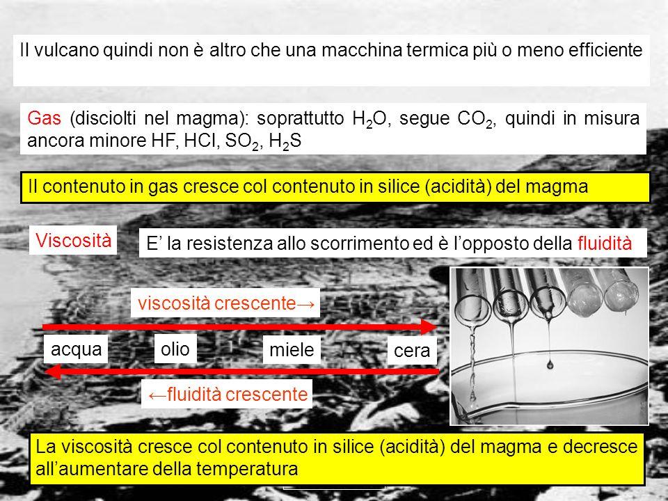 vulcanismo 6 I magmi acidi contengono disciolti tectosilicati (quarzo, feldspati ecc.), in cui la forte concatenazione tridimensionale dei tetraedri crea ostacoli allo scorrimento I magmi basici contengono disciolti neso ed inosilicati (olivina, pirosseni ecc.), in cui la scarsa concatenazione tridimensionale dei tetraedri non crea ostacoli allo scorrimento I magmi più viscosi liberano i gas con più difficoltà ed originano quindi eruzioni più esplosive Un esempio in cucina: ebollizione e violenza degli schizzi dalla pentola acqua marmellata polenta viscosità crescente violenza crescente degli schizzi olio Alta viscosità Bassa viscosità