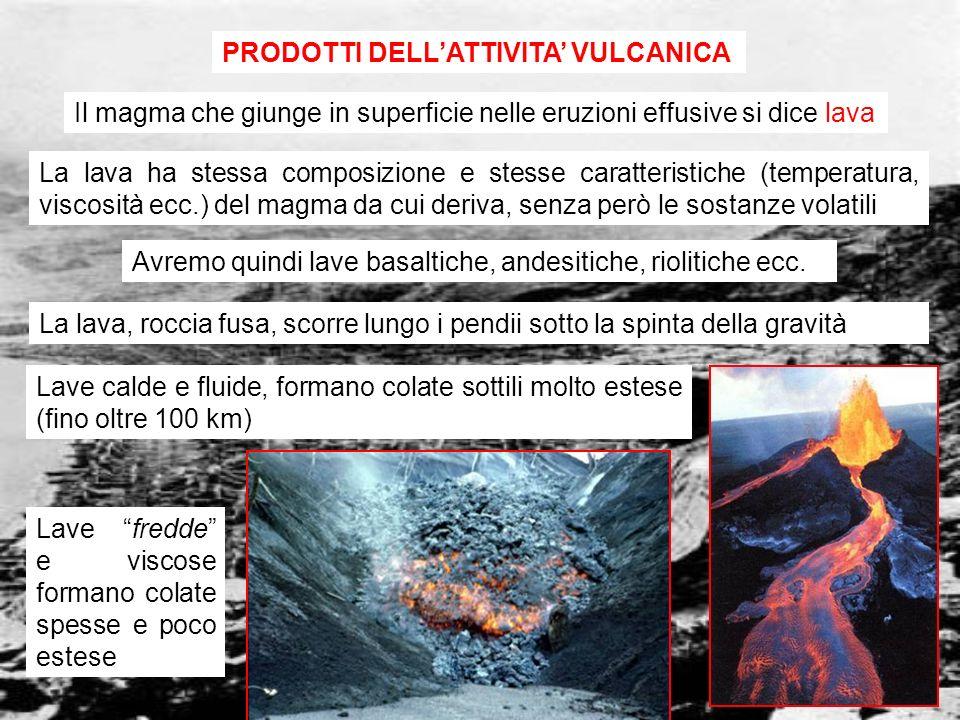 vulcanismo 9 Piroclasti: frammenti solidi o liquidi, lanciati in aria nelle eruzioni esplosive, che si depositano con modalità simili a quelle delle rocce detritiche Blocchi: frammenti grossolani (> 64mm) e angolati che erano solidi al momento dellemissione (derivano dalla frammentazione delledifico vulcanico) Bombe: frammenti grossolani (> 64mm) emessi in fase liquida, assumono forma affusolata nel tragitto in aria blocco bomba Lapilli: frammenti fini (2 - 64mm) di magma solidificato in laria e/o di elementi solidi delledificio vulcanico Ceneri: frammenti finissimi di magma (< 2mm) solidificato in aria I piroclasti si depositano a distanza variabile dalla bocca del vulcano a seconda delle loro dimensioni
