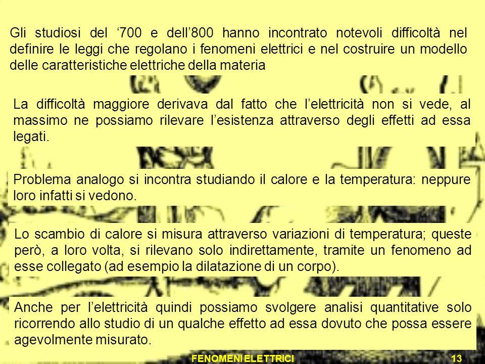 FENOMENI ELETTRICI13 Gli studiosi del 700 e dell800 hanno incontrato notevoli difficoltà nel definire le leggi che regolano i fenomeni elettrici e nel