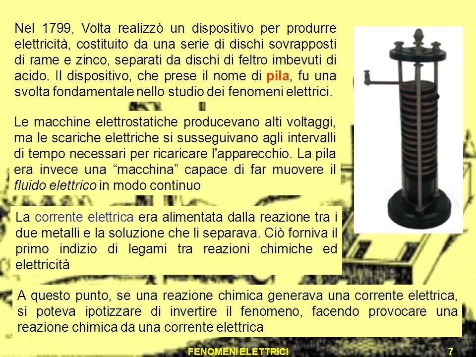 FENOMENI ELETTRICI7 Nel 1799, Volta realizzò un dispositivo per produrre elettricità, costituito da una serie di dischi sovrapposti di rame e zinco, s