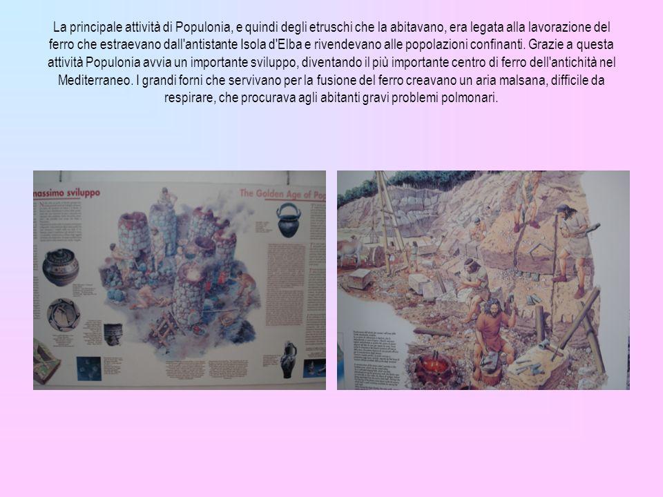La principale attività di Populonia, e quindi degli etruschi che la abitavano, era legata alla lavorazione del ferro che estraevano dall'antistante Is
