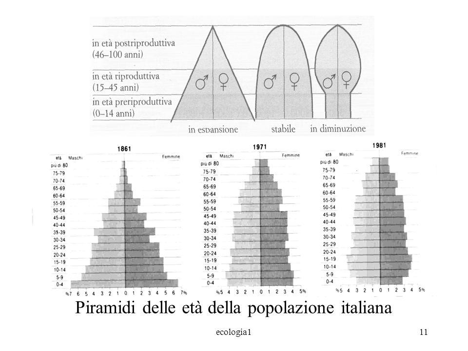 ecologia111 Piramidi delle età della popolazione italiana