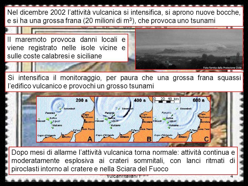 vulcani italiani 14 Nel dicembre 2002 lattività vulcanica si intensifica, si aprono nuove bocche, e si ha una grossa frana (20 milioni di m 3 ), che p