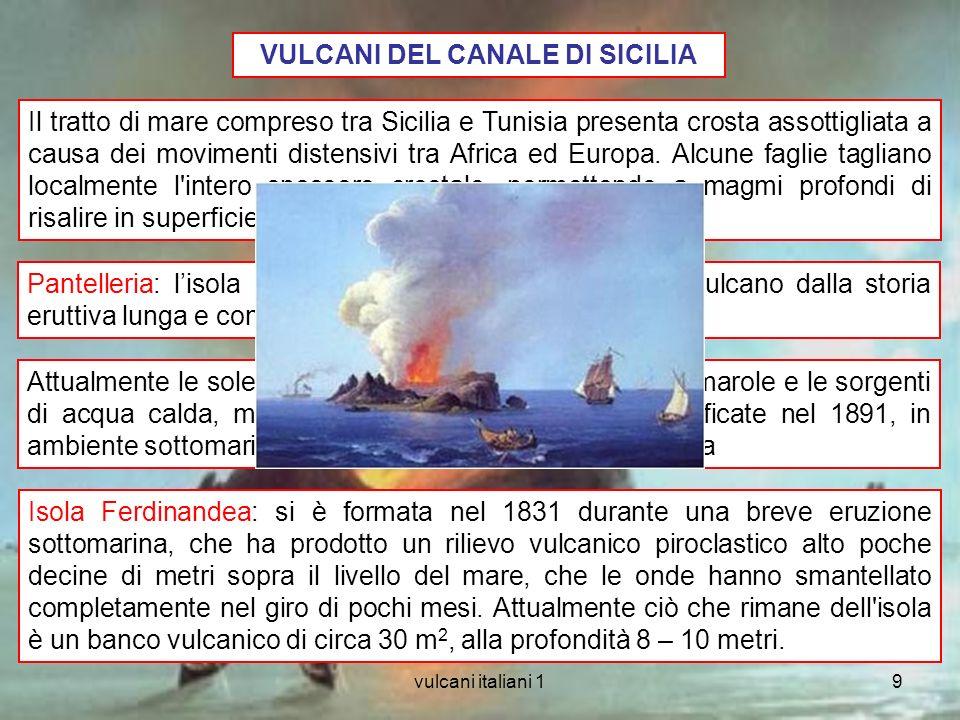vulcani italiani 19 VULCANI DEL CANALE DI SICILIA Pantelleria: lisola rappresenta la metà emersa di un vulcano dalla storia eruttiva lunga e complessa