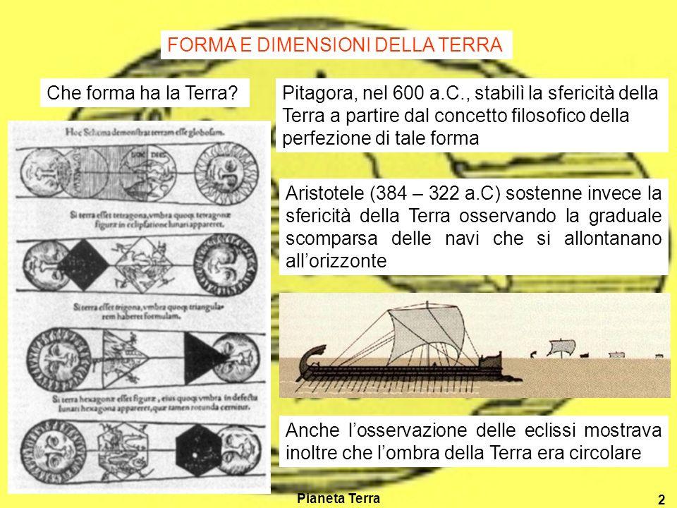 Pianeta Terra 2 Che forma ha la Terra?Pitagora, nel 600 a.C., stabilì la sfericità della Terra a partire dal concetto filosofico della perfezione di tale forma Aristotele (384 – 322 a.C) sostenne invece la sfericità della Terra osservando la graduale scomparsa delle navi che si allontanano allorizzonte Anche losservazione delle eclissi mostrava inoltre che lombra della Terra era circolare FORMA E DIMENSIONI DELLA TERRA