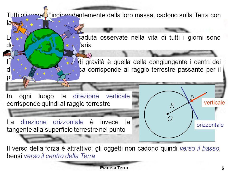 Pianeta Terra 6 Tutti gli oggetti, indipendentemente dalla loro massa, cadono sulla Terra con la stessa accelerazione.