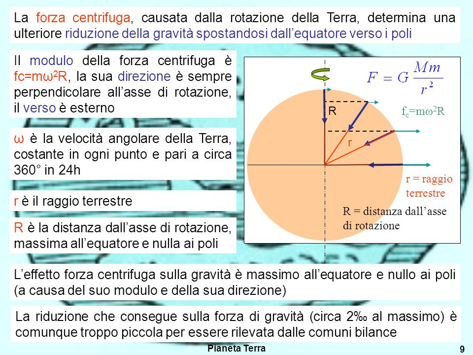 Pianeta Terra 9 R r La forza centrifuga, causata dalla rotazione della Terra, determina una ulteriore riduzione della gravità spostandosi dallequatore verso i poli f c =mω 2 R R = distanza dallasse di rotazione r = raggio terrestre Il modulo della forza centrifuga è fc=mω 2 R, la sua direzione è sempre perpendicolare allasse di rotazione, il verso è esterno ω è la velocità angolare della Terra, costante in ogni punto e pari a circa 360° in 24h r è il raggio terrestre R è la distanza dallasse di rotazione, massima allequatore e nulla ai poli Leffetto forza centrifuga sulla gravità è massimo allequatore e nullo ai poli (a causa del suo modulo e della sua direzione) La riduzione che consegue sulla forza di gravità (circa 2 al massimo) è comunque troppo piccola per essere rilevata dalle comuni bilance