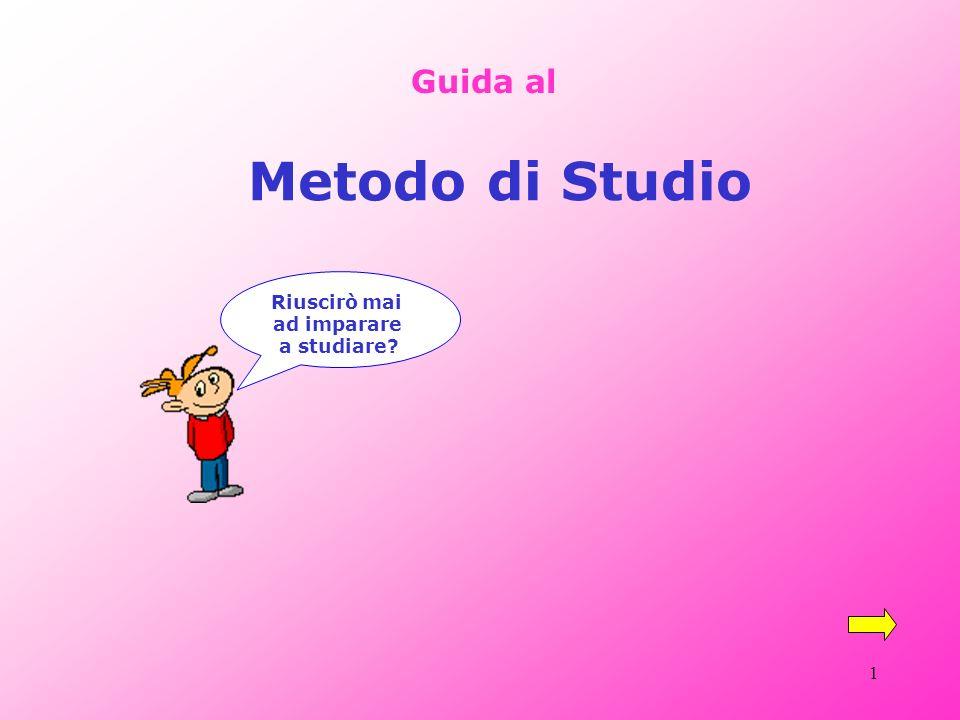 1 Guida al Metodo di Studio Riuscirò mai ad imparare a studiare?