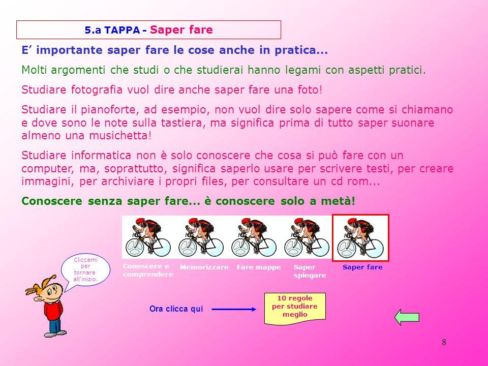 8 5.a TAPPA - Saper fare E importante saper fare le cose anche in pratica...