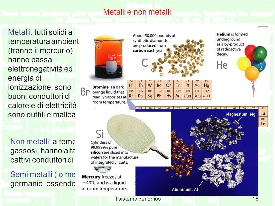 Il sistema periodico16 Metalli e non metalli Metalli: tutti solidi a temperatura ambiente (tranne il mercurio), hanno bassa elettronegatività ed energia di ionizzazione, sono buoni conduttori di calore e di elettricità, sono duttili e malleabili Non metalli: a temperatura ambiente possono essere solidi, liquidi o gassosi, hanno alta elettronegatività ed energia di ionizzazione, sono cattivi conduttori di calore e di elettricità.