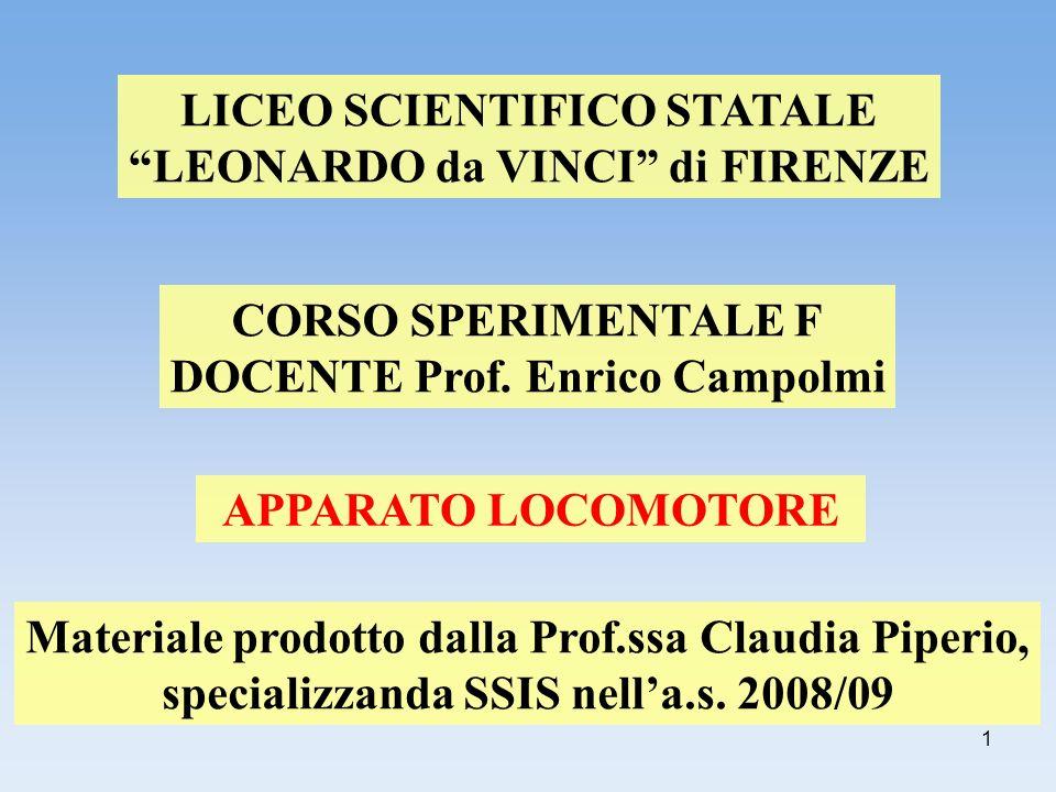 1 LICEO SCIENTIFICO STATALE LEONARDO da VINCI di FIRENZE CORSO SPERIMENTALE F DOCENTE Prof. Enrico Campolmi APPARATO LOCOMOTORE Materiale prodotto dal