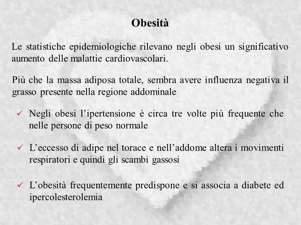 Obesità Leccesso di adipe nel torace e nelladdome altera i movimenti respiratori e quindi gli scambi gassosi Le statistiche epidemiologiche rilevano negli obesi un significativo aumento delle malattie cardiovascolari.