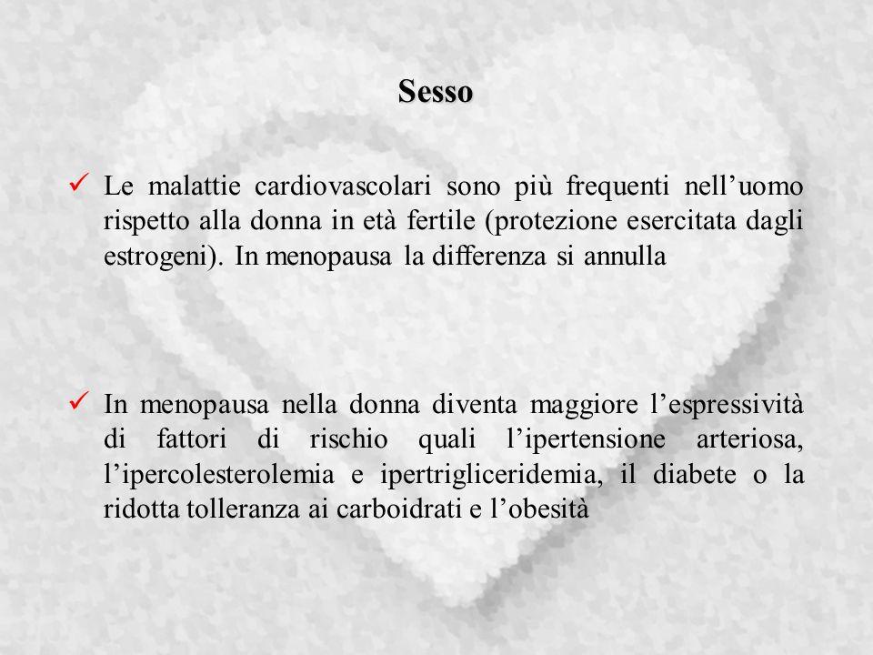 Sesso Le malattie cardiovascolari sono più frequenti nelluomo rispetto alla donna in età fertile (protezione esercitata dagli estrogeni).