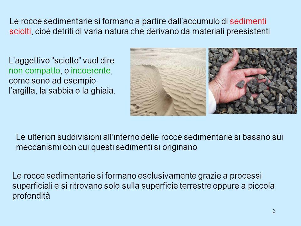2 Le rocce sedimentarie si formano a partire dallaccumulo di sedimenti sciolti, cioè detriti di varia natura che derivano da materiali preesistenti La