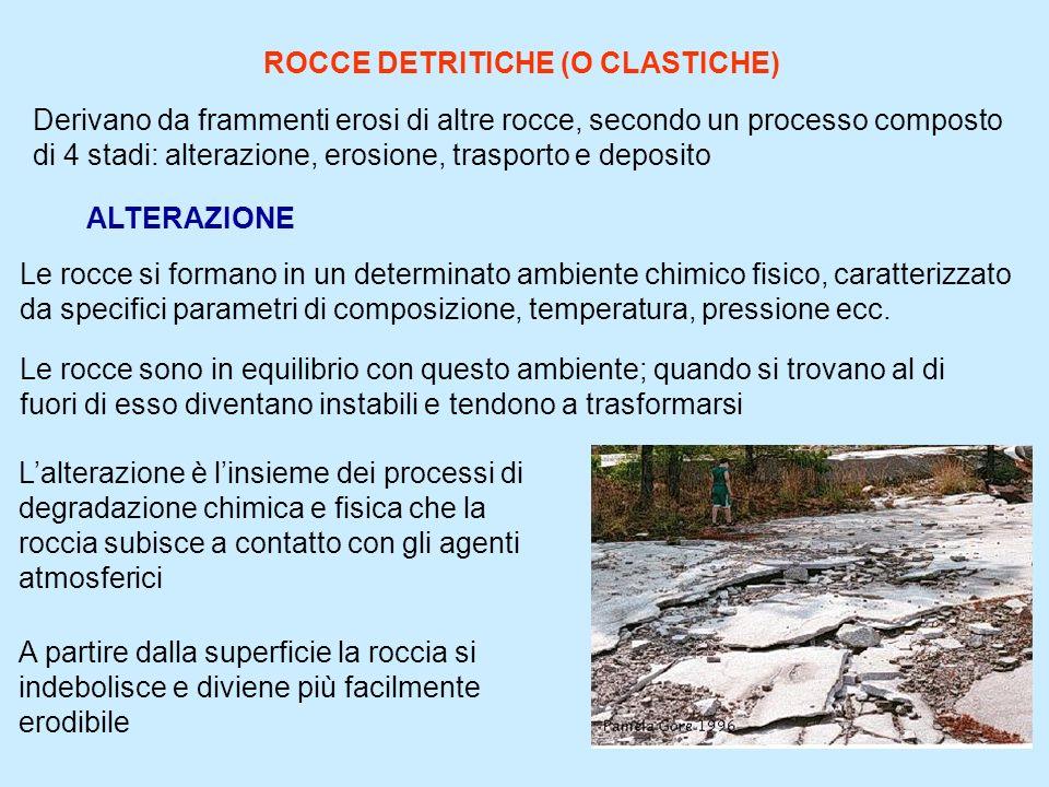 3 ROCCE DETRITICHE (O CLASTICHE) Derivano da frammenti erosi di altre rocce, secondo un processo composto di 4 stadi: alterazione, erosione, trasporto