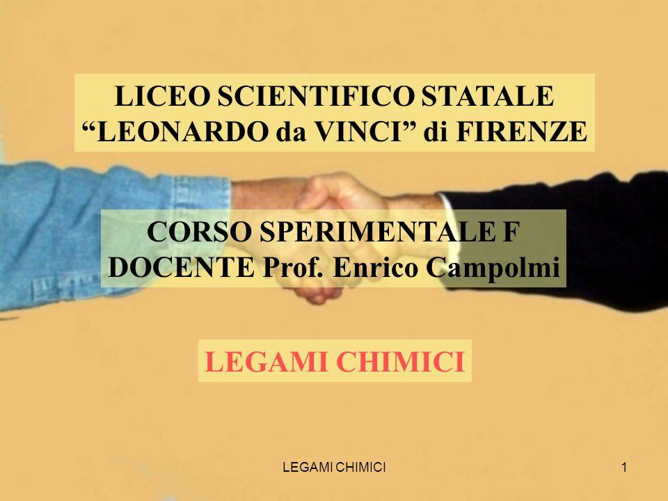 LEGAMI CHIMICI1 LICEO SCIENTIFICO STATALE LEONARDO da VINCI di FIRENZE CORSO SPERIMENTALE F DOCENTE Prof. Enrico Campolmi LEGAMI CHIMICI