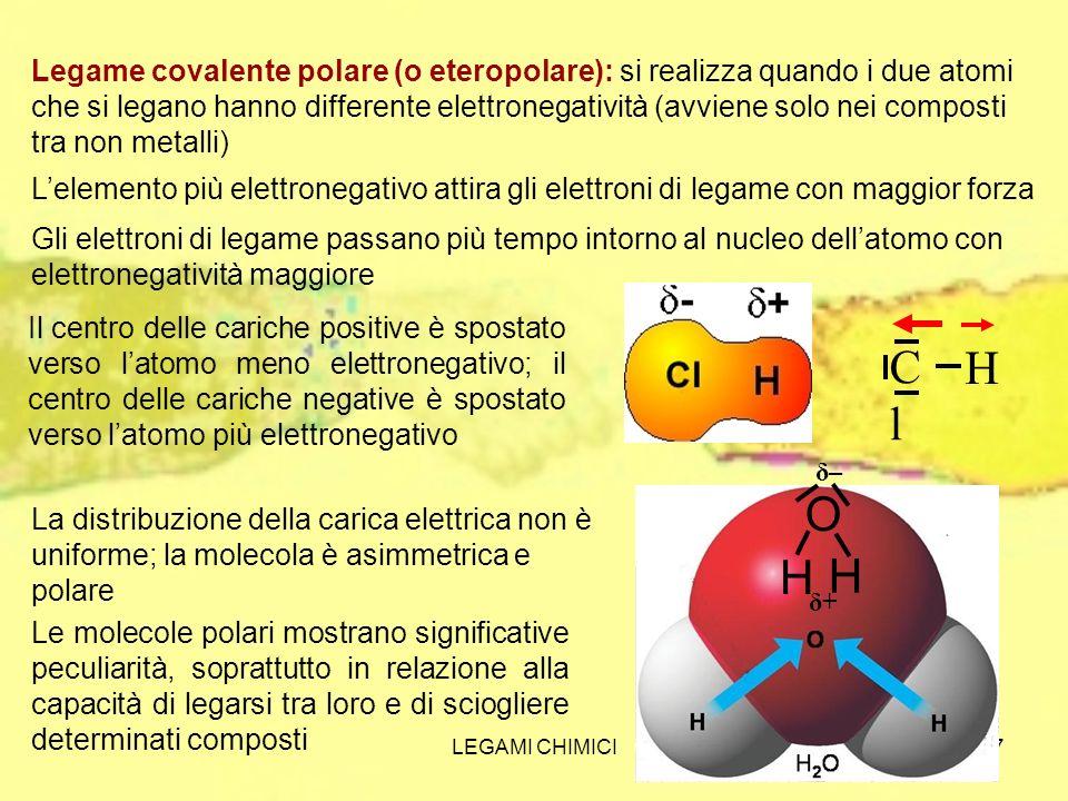 LEGAMI CHIMICI8 Ione ammonio NH 4 + N H H H H+H+ Legame dativo: è un legame covalente polare che si realizza tra un atomo con un orbitale pieno ed un atomo con un orbitale vuoto N H H H H A parte la differente appartenenza degli elettroni, un legame dativo ha le stesse proprietà di un legame covalente normale.