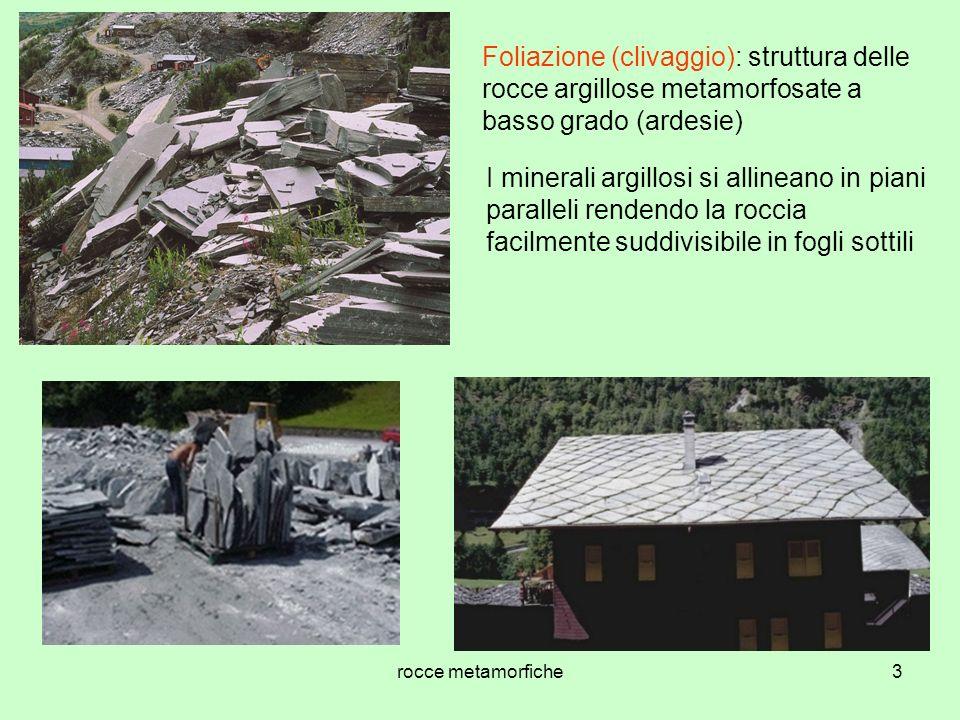 rocce metamorfiche3 Foliazione (clivaggio): struttura delle rocce argillose metamorfosate a basso grado (ardesie) I minerali argillosi si allineano in