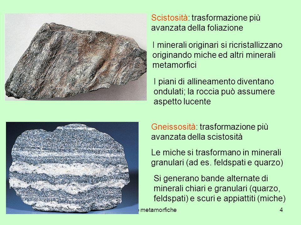 rocce metamorfiche4 Scistosità: trasformazione più avanzata della foliazione I minerali originari si ricristallizzano originando miche ed altri minera