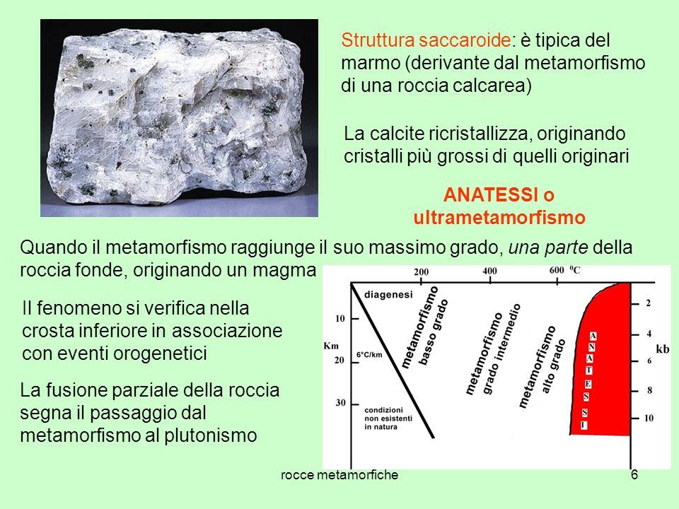 6 Struttura saccaroide: è tipica del marmo (derivante dal metamorfismo di una roccia calcarea) La calcite ricristallizza, originando cristalli più gro