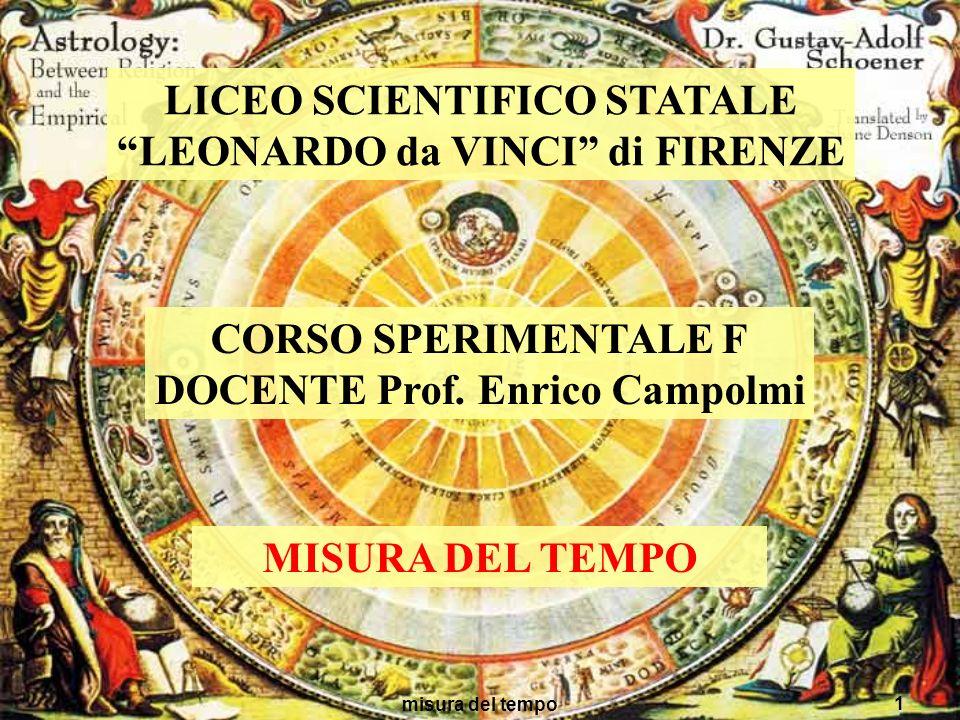 misura del tempo 1 LICEO SCIENTIFICO STATALE LEONARDO da VINCI di FIRENZE CORSO SPERIMENTALE F DOCENTE Prof. Enrico Campolmi MISURA DEL TEMPO