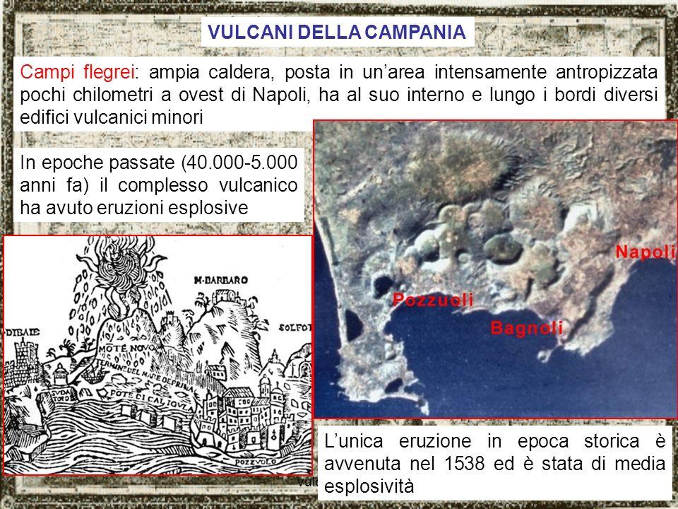 vulcani italiani5 Larea flegrea è soggetta a bradisismo: lenti movimenti verticali del suolo legati ai fenomeni vulcanici Nel Serapeo (mercato romano) di Pozzuoli le tracce sulle colonne di organismi marini testimoniano variazioni di quota di circa 10 metri.