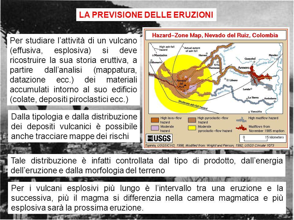 rischio vulcanico15 LA PREVISIONE DELLE ERUZIONI Per studiare lattività di un vulcano (effusiva, esplosiva) si deve ricostruire la sua storia eruttiva, a partire dallanalisi (mappatura, datazione ecc.) dei materiali accumulati intorno al suo edificio (colate, depositi piroclastici ecc.) Per i vulcani esplosivi più lungo è lintervallo tra una eruzione e la successiva, più il magma si differenzia nella camera magmatica e più esplosiva sarà la prossima eruzione.